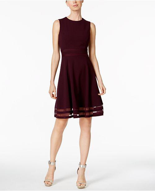 Calvin Klein Petite Illusion Trim Fit Amp Flare Dress