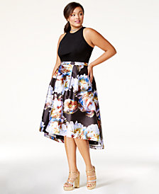 City Chic Trendy Plus Size Printed High-Low Dress