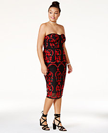 City Chic Trendy Plus Size Embroidered Bodycon Dress