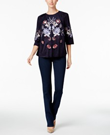 Charter Club Embroidered Faux-Suede Top & Straight-Leg Jeans, Created for Macy's