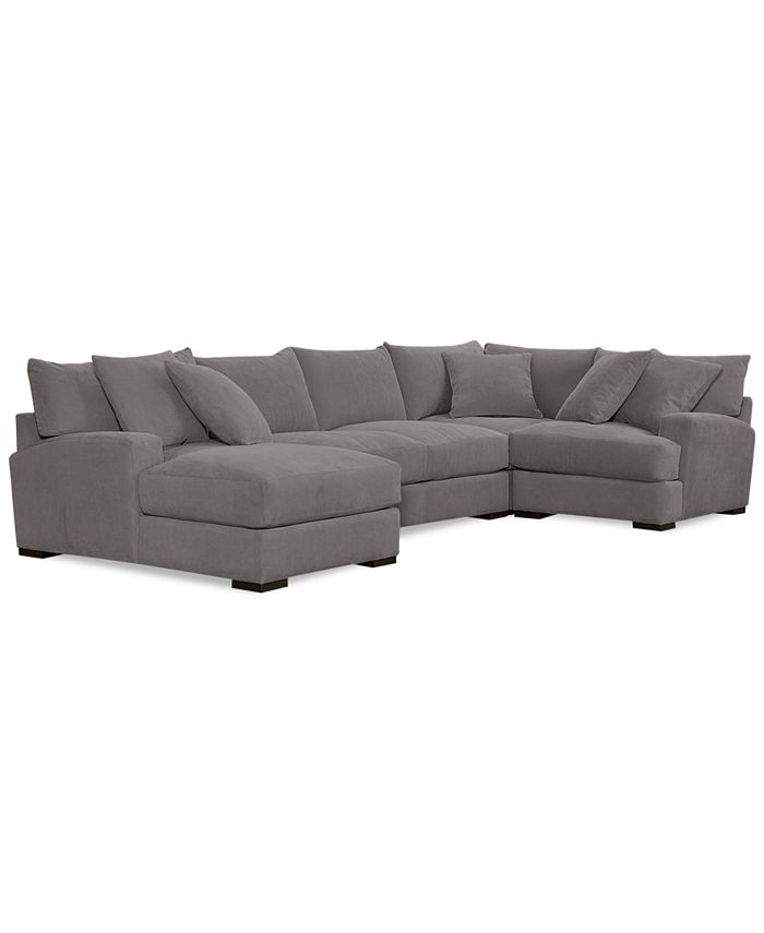 Furniture - Rhyder 4-Pc. 80'' Fabric Sectional with Chaise, Only at Macy's