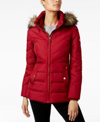 Petite Faux-Fur-Trim Hooded Coat