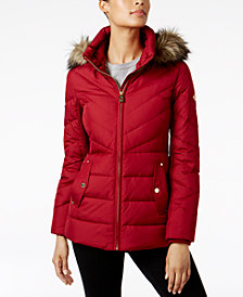 MICHAEL Michael Kors Faux-Fur-Trim Chevron-Quilted Down Coat