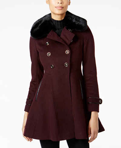 Via Spiga Faux-Fur-Collar Skirted Wool Coat - Coats - Women - Macy's