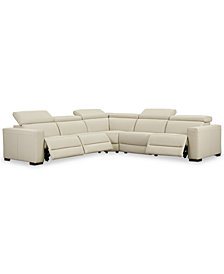 "Nevio 5-pc Leather ""L"" Shaped Sectional Sofa with 3 Power Recliners and Articulating Headrests, Created for Macy's"