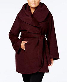 T Tahari Plus Size Marla Belted Wrap Coat