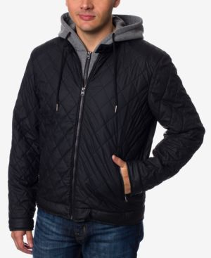 Buffalo David Bitton Men's Layered-Look Quilted Bomber Jacket 4862548