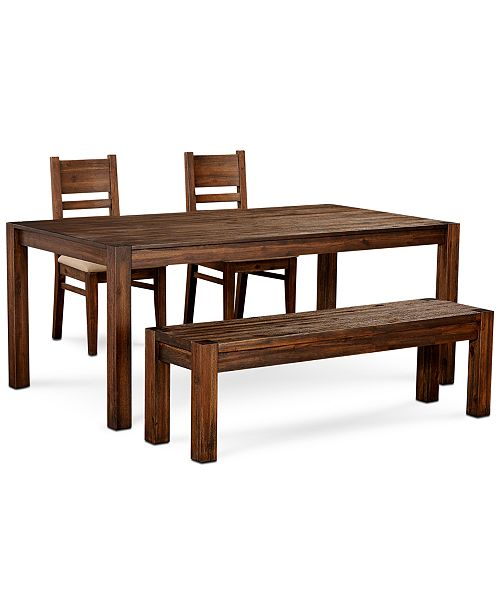 """Furniture Avondale Large Dining, 4-Pc. Set (72"""" Dining Table, 2 Side Chairs & Bench), Created for Macy's"""