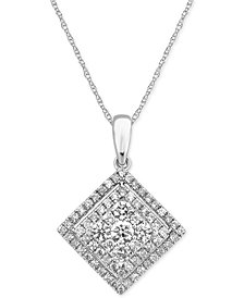 Diamond Cluster Pendant Necklace (1 ct. t.w.) in 14k White Gold