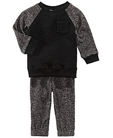 First Impressions Quilted Raglan Sweatshirt & Marled Jogger Pants, Baby Boys (0-24 months), Created for Macy's