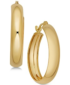 Polished Flex Hoop Earrings in 10k Gold, 4/5 inch