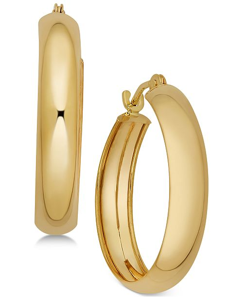 Macy's Polished Flex Hoop Earrings in 10k Gold, 4/5 inch