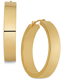 Polished Flat-Edge Flex Hoop Earrings in 10k Gold