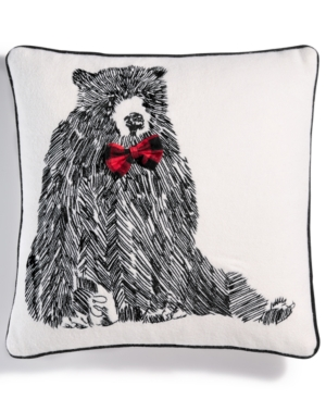 Martha Stewart Collection Bowtie Bear 18 Square Decorative Pillow Created for Macys Bedding