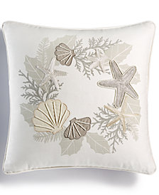 "CLOSEOUT! Martha Stewart Collection Coral Wreath 18"" Square Decorative Pillow, Created for Macy's"