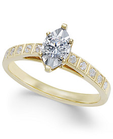 Diamond Miracle-Plate Marquise Shape Engagement Ring (3/8 ct. t.w.) in 14k Gold