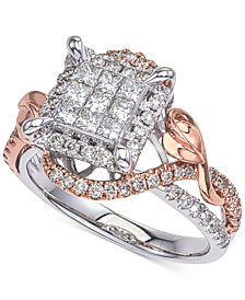 Diamond Two-Tone Princess Cluster Twist Engagement Ring (7/8 ct. t.w.) in 14k White and Rose Gold