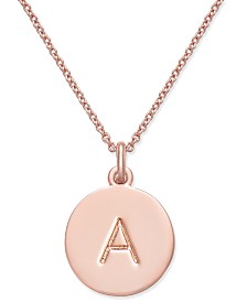 "Kate Spade New York  Rose Gold-Tone Initial Disc Pendant Necklace, 18"" + 2 1/2"" Extender"