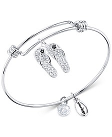 Crystal Pavé Flip-Flops Charm Bangle Bracelet in Stainless Steel & Silver-Plate
