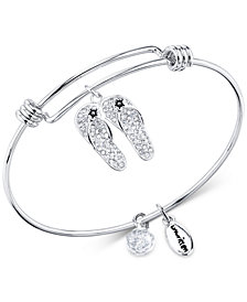 Unwritten Crystal Pavé Flip-Flops Charm Bangle Bracelet in Stainless Steel & Silver-Plate