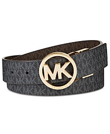 MICHAEL Michael Kors Reversible Signature with Logo Buckle Belt