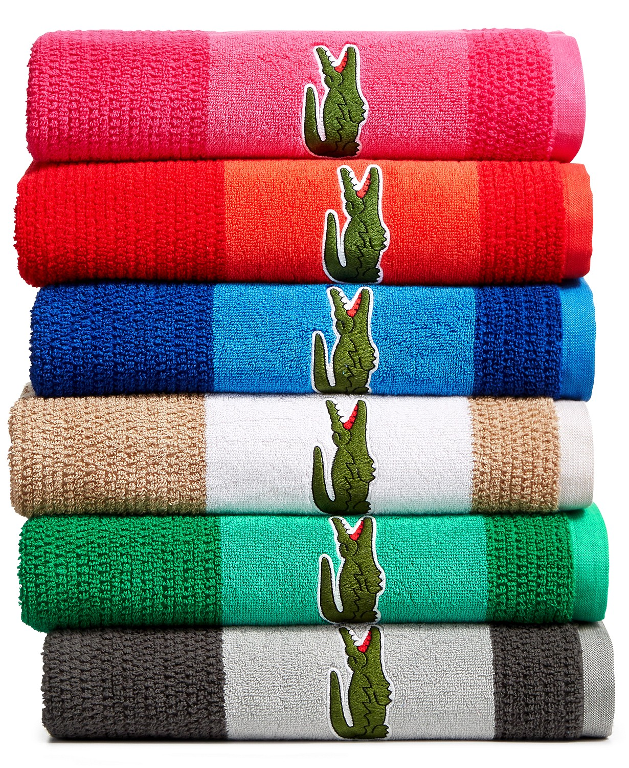 Lacoste Match Cotton Colorblocked Bath Towel (Multiple Colors)