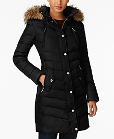Petite Faux-Fur-Trim Hooded Down Coat, Created for Macy's