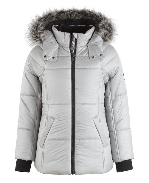 af5ba0e25229 Calvin Klein Expedition Hooded Puffer Coat with Faux Fur Trim