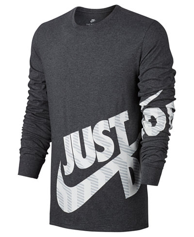 Nike Men's Sportswear Logo Long-Sleeve T-Shirt - T-Shirts - Men ...