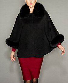 The Fur Vault Fox-Fur-Trim Wool-Blend Cape