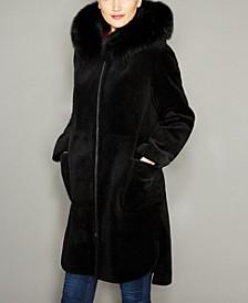 Fox-Trim Hooded Lamb Fur Coat