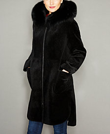 The Fur Vault Fox-Trim Hooded Lamb Fur Coat