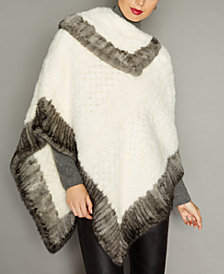The Fur Vault Colorblocked Knitted Mink Fur Poncho