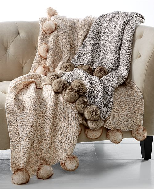 "Martha Stewart Collection 50"" x 60"" Marled Basketweave Faux-Fur Pom Pom Throw, Created for Macy's"