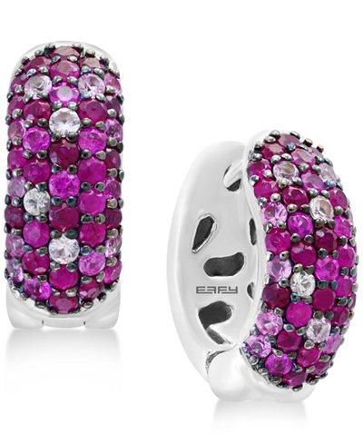 Splash by EFFY® Ruby (1-3/8 ct. t.w.) & Pink Sapphire (3/4 ct. t.w.) Hoop Earrings in Sterling Silver
