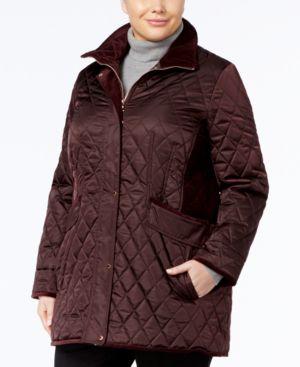 Vince Camuto Plus Size Velvet-Trim Quilted Coat 4780944