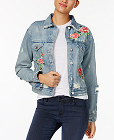 M1858 Logan Relaxed Denim Jacket with Floral Embroidery, Created for Macy's