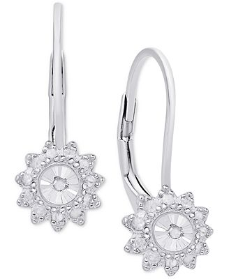 Diamond Floral Drop Earrings (1/4 ct. t.w.) in Sterling Silver