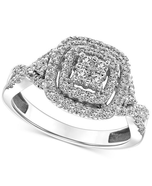 Macy's Diamond Open Halo Engagement Ring (1/2 ct. t.w.) in 14k White Gold