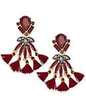 INC International Concepts Gold-Tone Stone & Tassel Drop Earrings, Created for Macy's