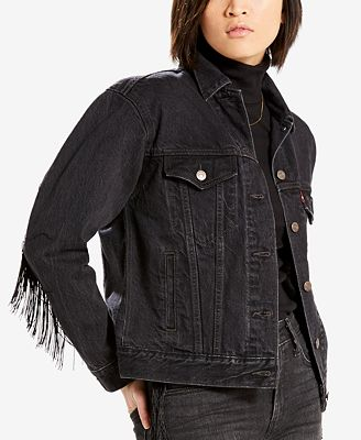 Levi's® Limited Ex-Boyfriend Fringe-Trim Cotton Trucker Jacket, Created for Macy's