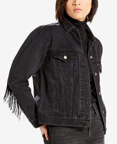 Levi's® Limited Ex-Boyfriend Fringe-Trim Cotton Trucker Jacket, Created for Macy's