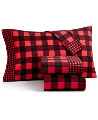 martha stewart collection lumberjack cotton 3pc plaid flannel twin xl sheet set - Twin Xl Sheets