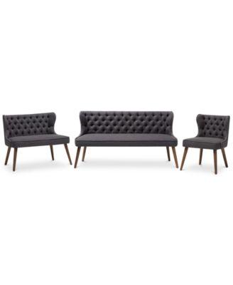 Scarlett Button-Tufting with Nailhead Trim Living Room 3-Pc. Sofa Set, Quick Ship