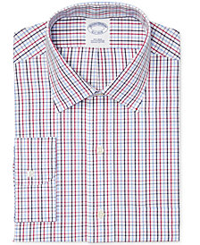 Brooks Brothers Men's Slim-Fit Non-Iron Red Tattersall Dress Shirt