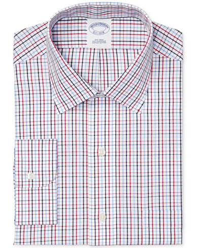 Brooks Brothers Men's Classic-Fit Non-Iron Red Tattersall Dress Shirt