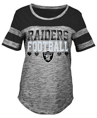 5th & Ocean Oakland Raiders Space Dye Foil Heart T-Shirt, Girls (4-16)