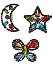 Anna Sui x INC International Concepts Gold-Tone 3-Pc. Set Rainbow Crystal Pins, Created for Macy's
