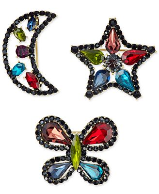 Anna Sui x I.N.C. Gold-Tone 3-Pc. Set Rainbow Crystal Pins, Created for Macy's