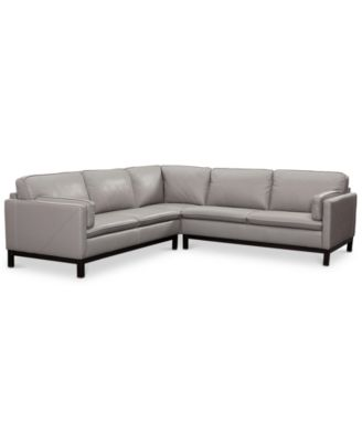 """CLOSEOUT! Ventroso 3-Pc. """"L"""" Shaped Leather Sectional Sofa, Created for Macy's"""